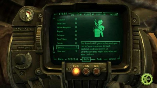 Your Pip-Boy helps you keep track of everything. It even knows the types and quantities of equipment you're carrying. Could it be self-aware?