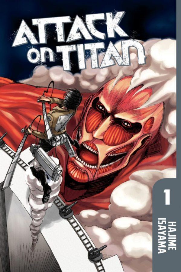 Eren hovering over a titan