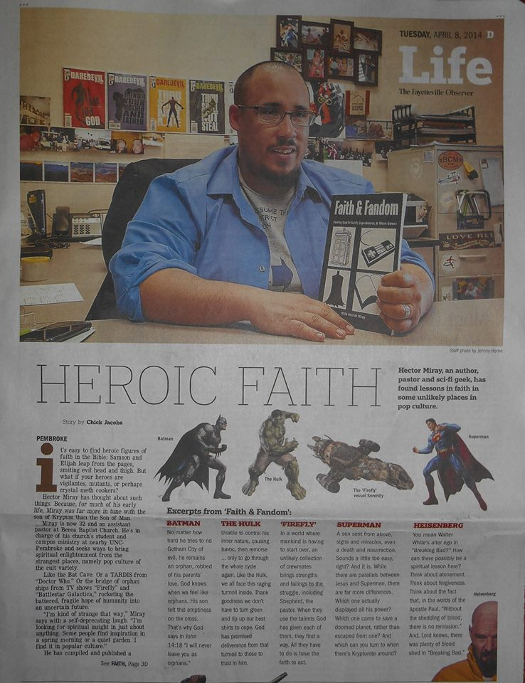 "Newspaper article about ""Heroic Faith"""