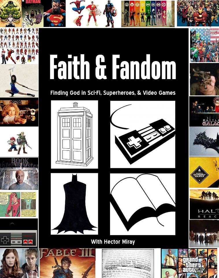 Faith and Fandom book with thumbnails of various fandoms around the edges