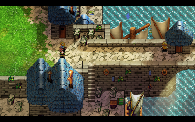 Nice hand-drawn HD rooftop, stone bridge, grass, and sails. Too bad we still have 16-bit barrels, chimneys, treasure chests--and let's not forget--hero sprites.