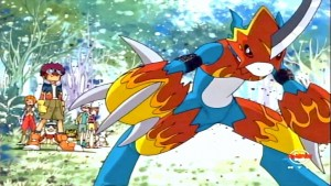 Flamedramon gearing up for battle.