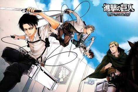 Levi and other boys jumping off wall with their ODM gear