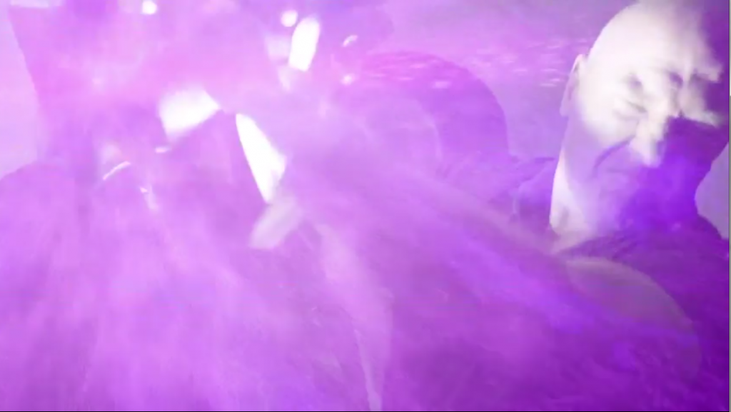 First pink stars then pink and purple explosions