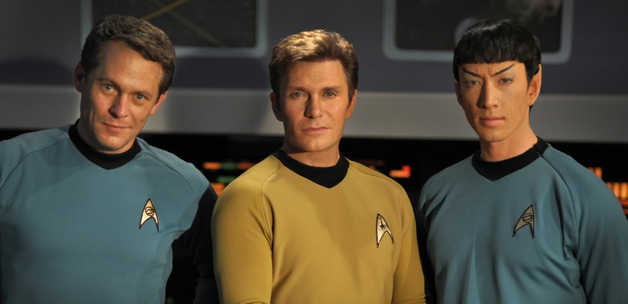 Chuck Huber (left), Vic Mignogna (middle), and Todd Haberkorn (right) in Star Trek Continues