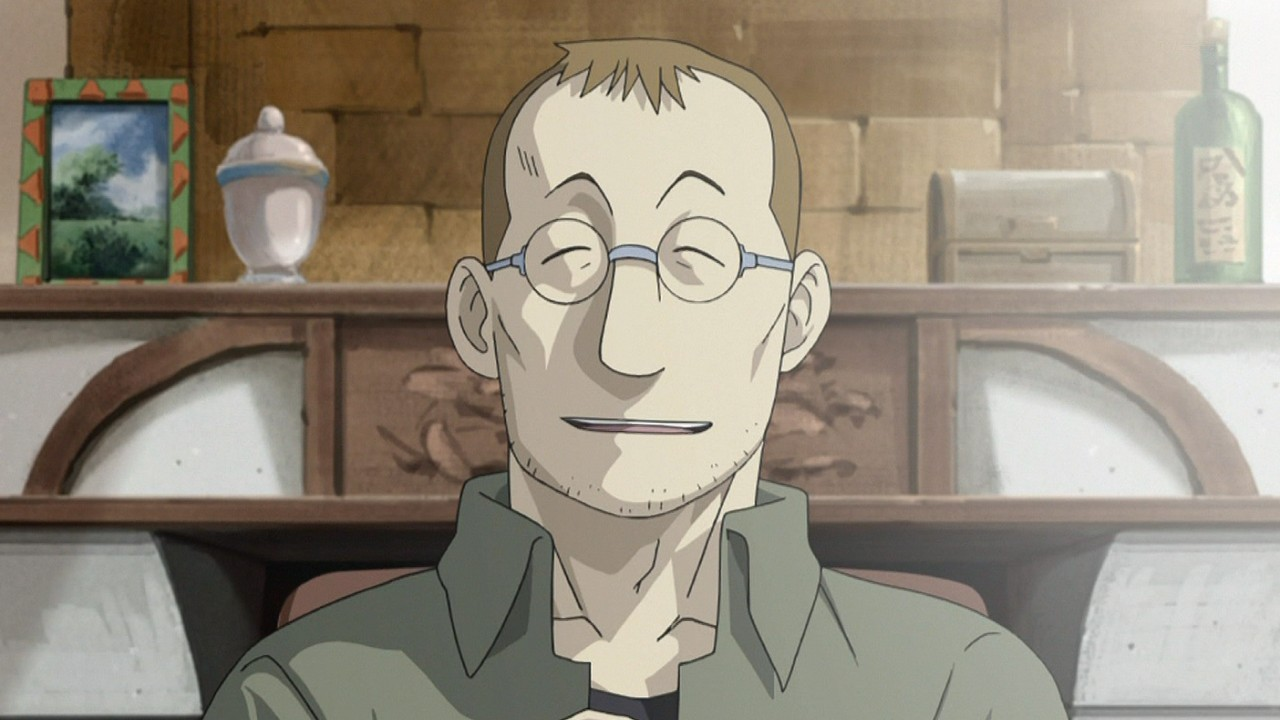 Shou Tucker, voiced by Chuck Huber, from Fullmetal Alchemist