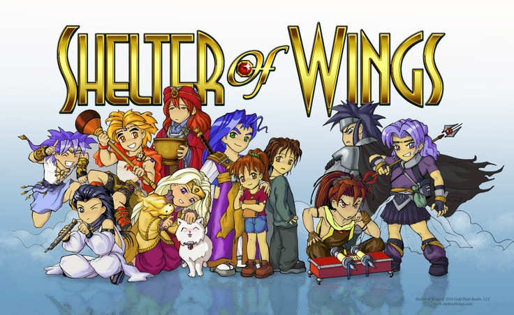Chibi cast under the words Shelter of Wings