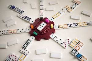 Mexican Train Dominoes on a table