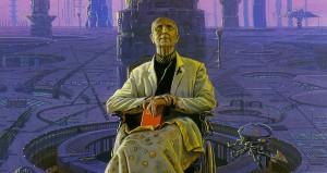 A man in a robe sits on a futuristic throne