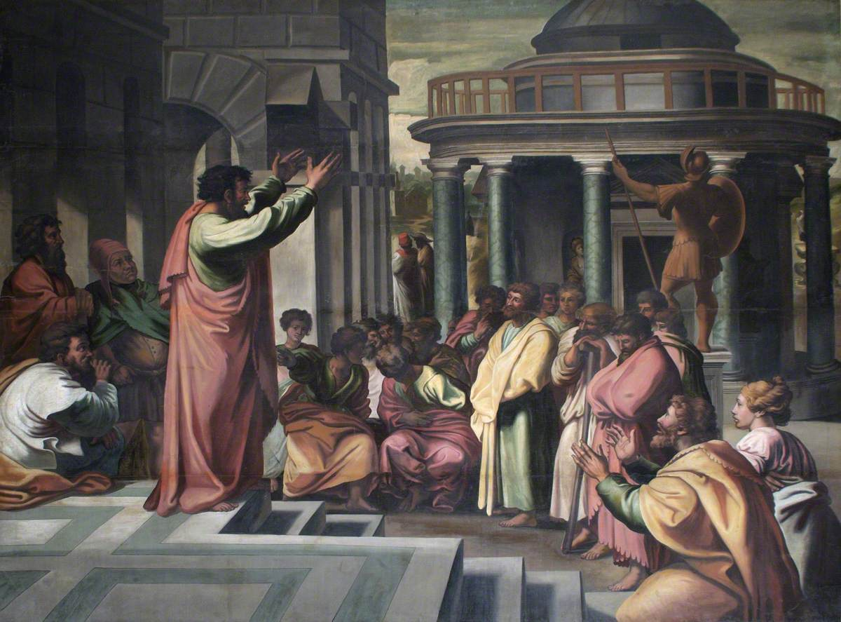 Thanks for the fan art, Raphael! (St Paul preaching at Athens; The Ashmolean Museum of Art and Archaeology)