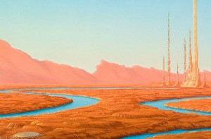 Red desert with a single river and some towers in the distance