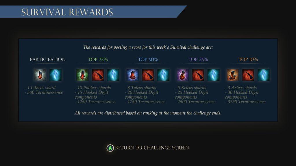 Survival Mode Rewards