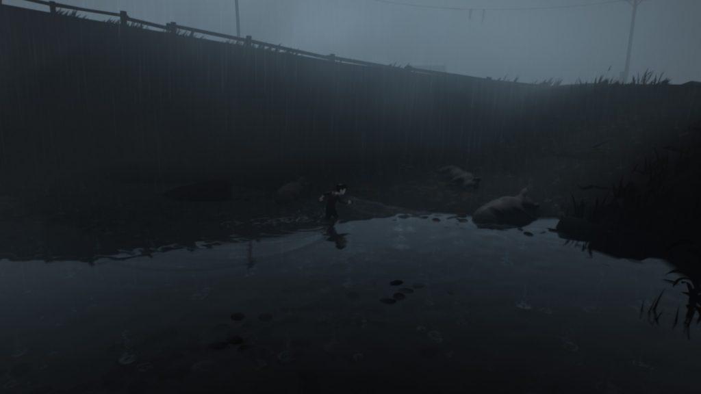Wading through water