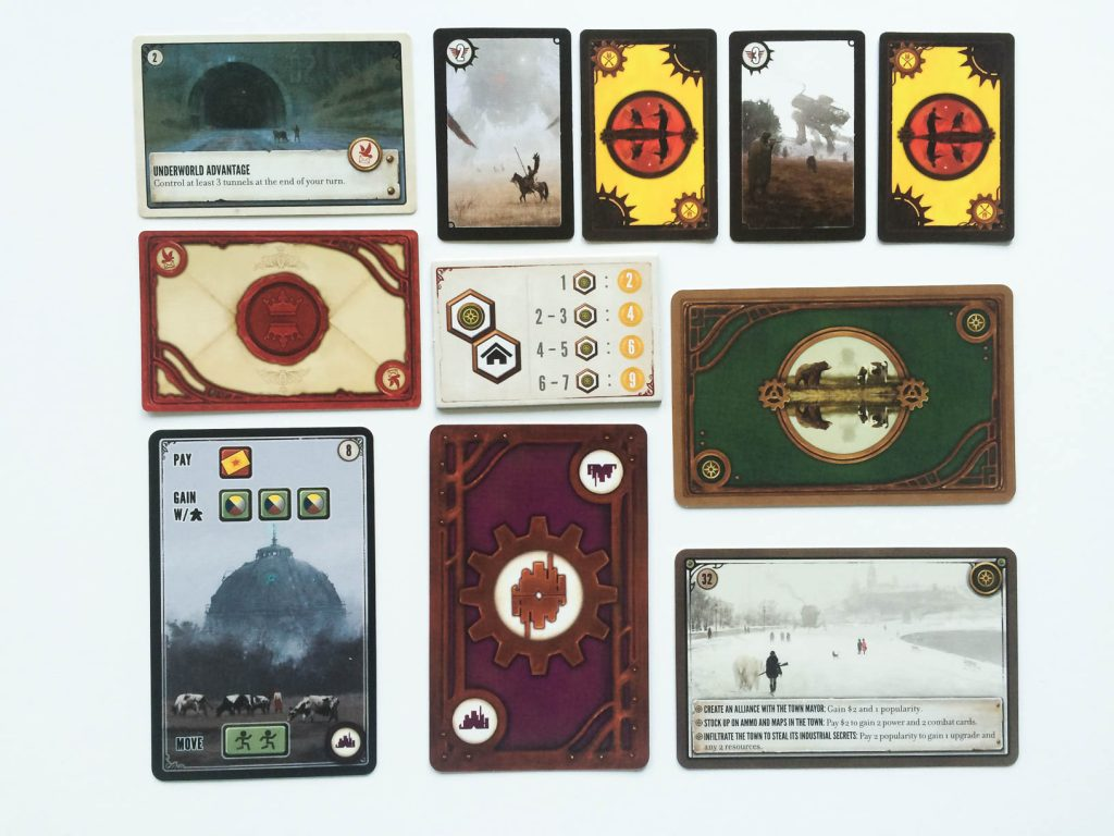 All of the different cards you will encounter in Scythe.