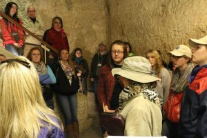 In the pit where Jesus was imprisoned in the house of Caiaphas.