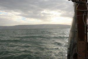 Sailing on the Sea of Galilee.