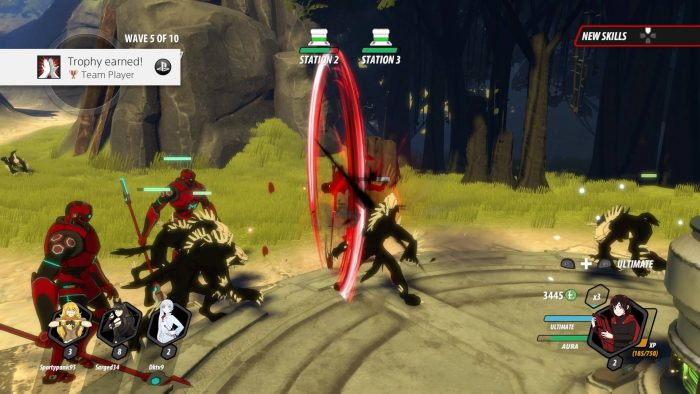 Ruby's team attack has her flying through the air swinging her scythe like a saw blade