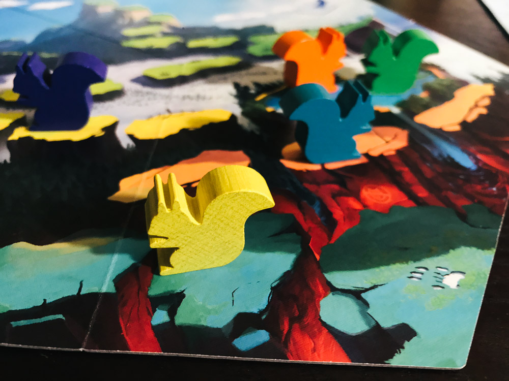 That's a Question game board and squirrel meeples