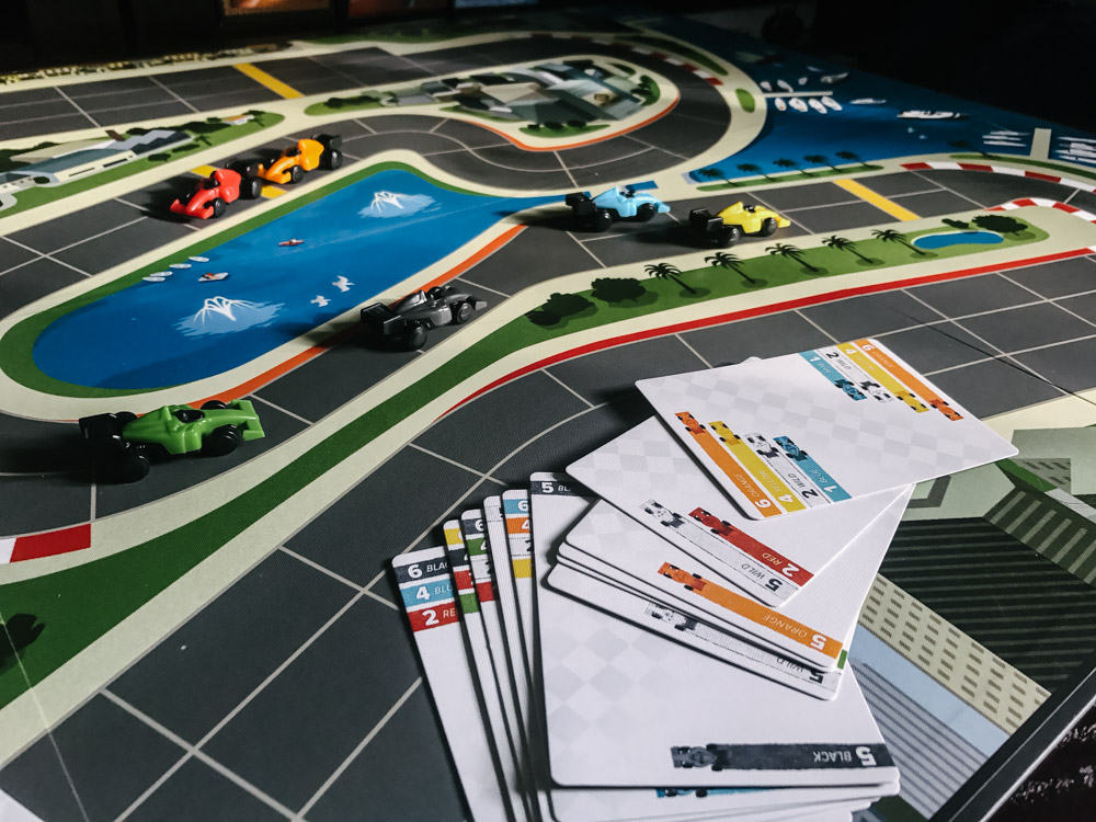 Downforce cards, cars, and track