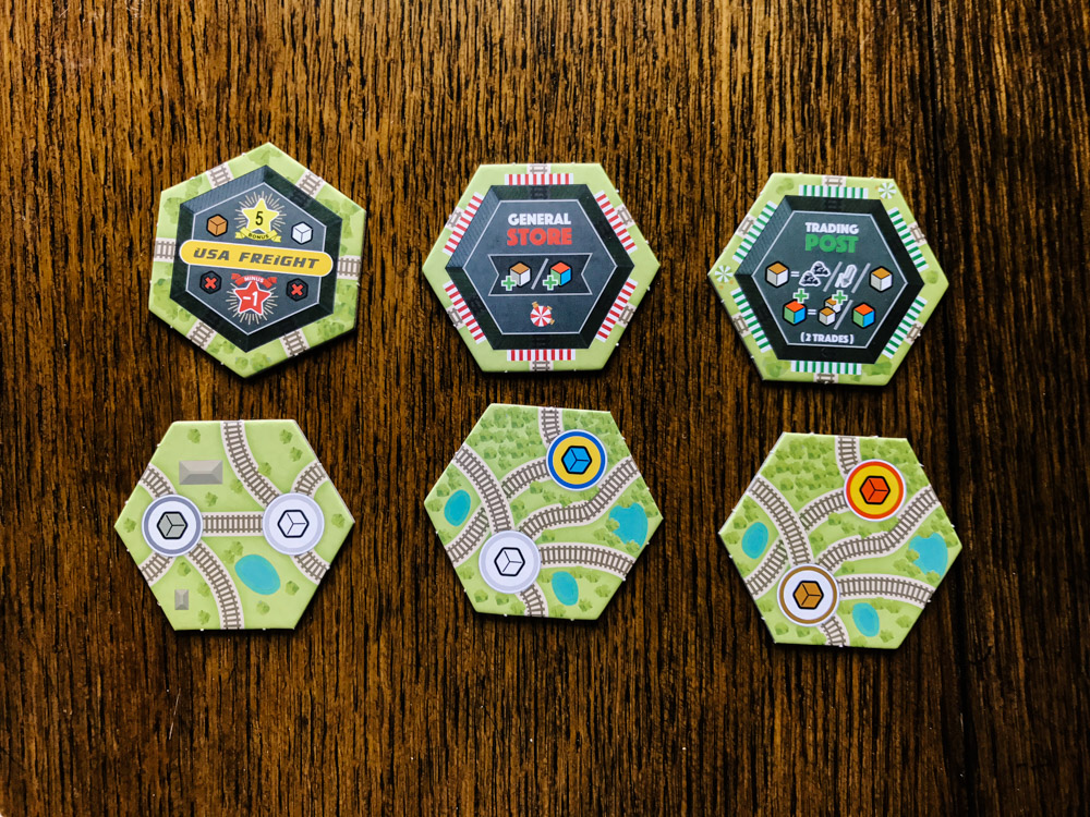 Whistle Stop tiles and hexes