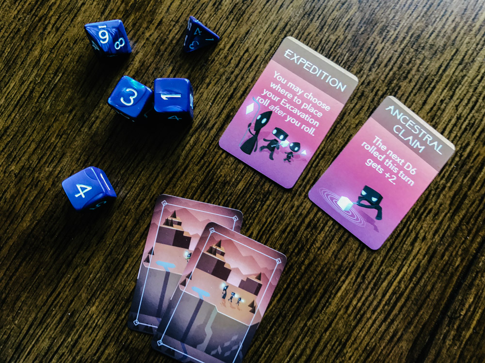 Unearth delver cards and dice