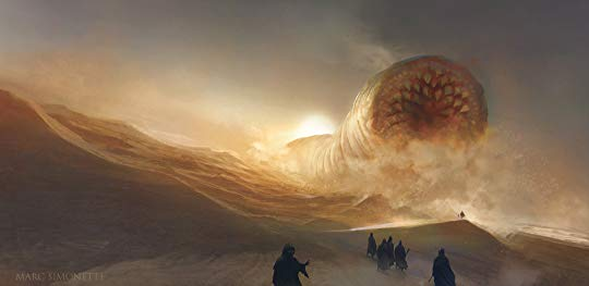 Giant sand worm with rows of teeth comes toward a party of people