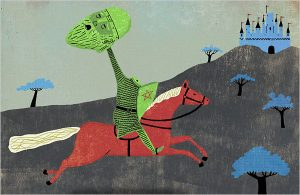 Headless green knight riding on a horse
