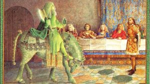 Green knight visits a table of nobility