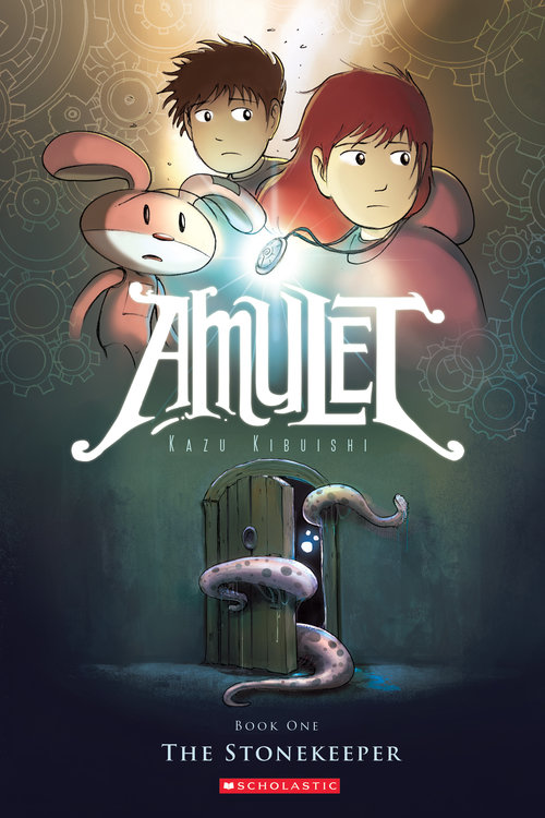An octopus squeezes through a door while a pink bunny and two siblings look on, one wears an amulet