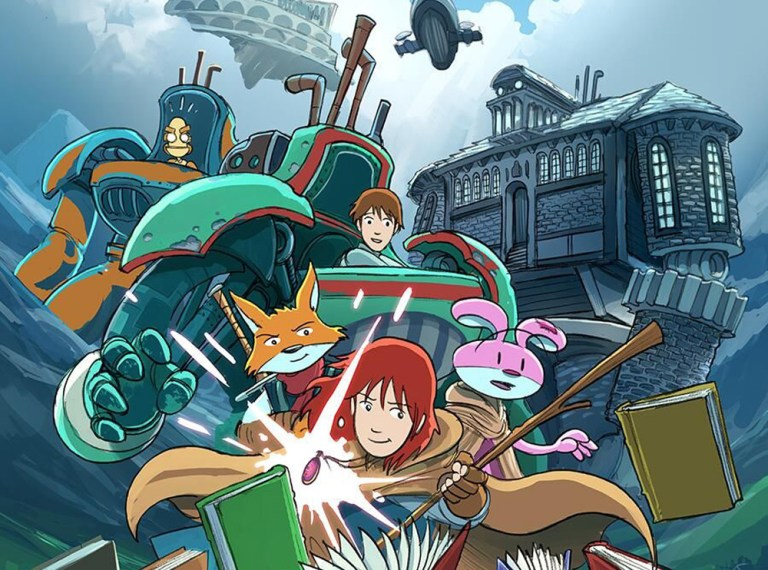 Navin and another girl character are in mechs while Emily, the rabbit, and the fox are in the foreground in a fighting stance. Behind Navin stands a giant stone robot made of a house.