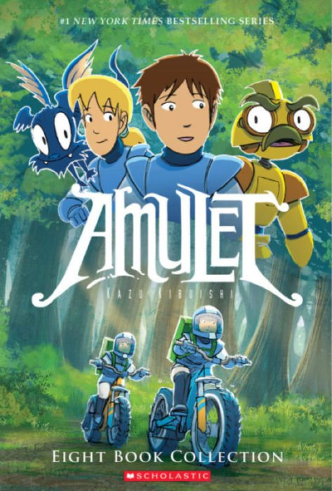 Two figures ride motorbikes through a forest. At the top are a robot, Navin, another girl, and a bat.