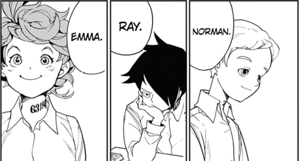 Emma with reddish hair, Ray with black hair covering his eyes, and Norman, a blondie