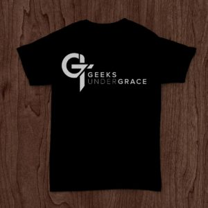 Black T-Shirt with the Geeks Under Grace Logo on it