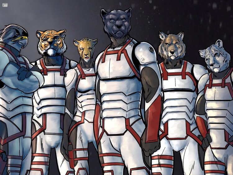 Birds of prey and big cats dressed in spacesuits look ready for battle.