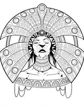 A regal lioness wearing a headress.