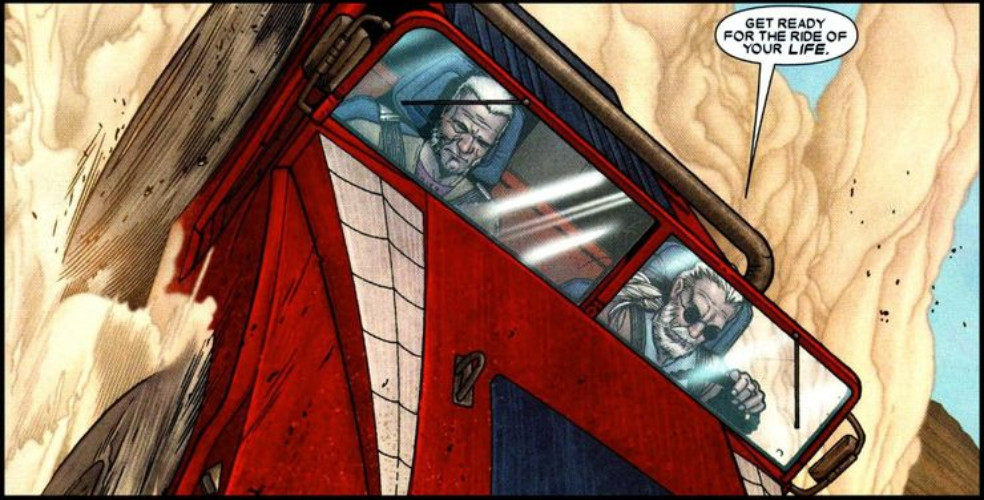 Logan and Hawkeye driving Spider-Mobile