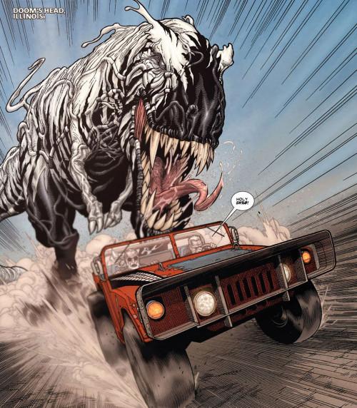 Symbiote dinosaur chases Spider-Mobile