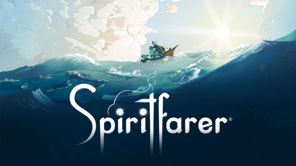 A boat on the ocean with the sky above it. Spiritfarer in big letters in the water