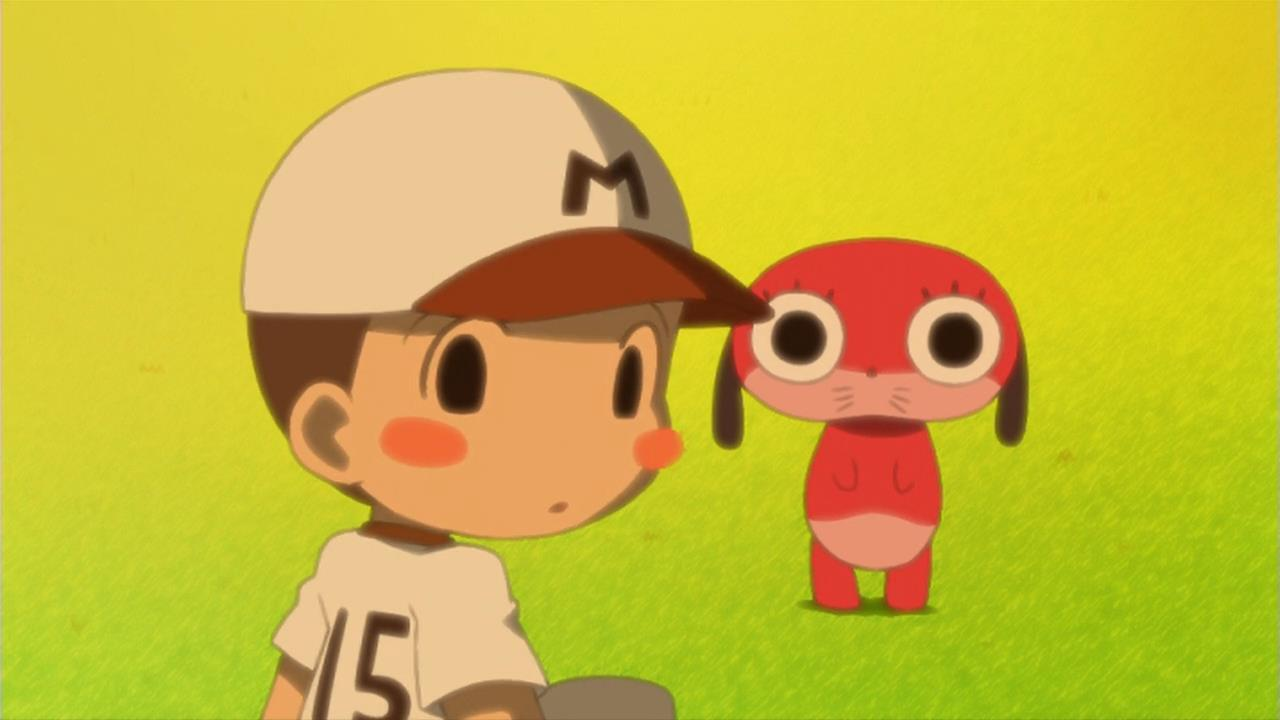 An adorable little boy in a baseball cap is talking to Maromi