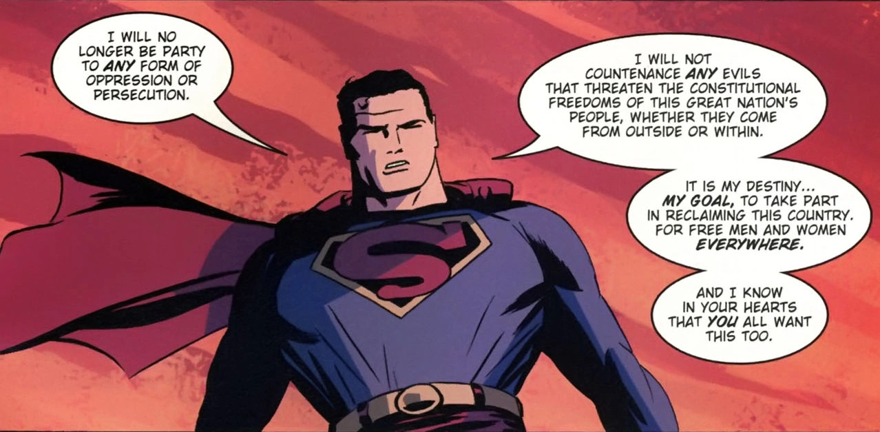 Superman gives a speech about not condoning evil