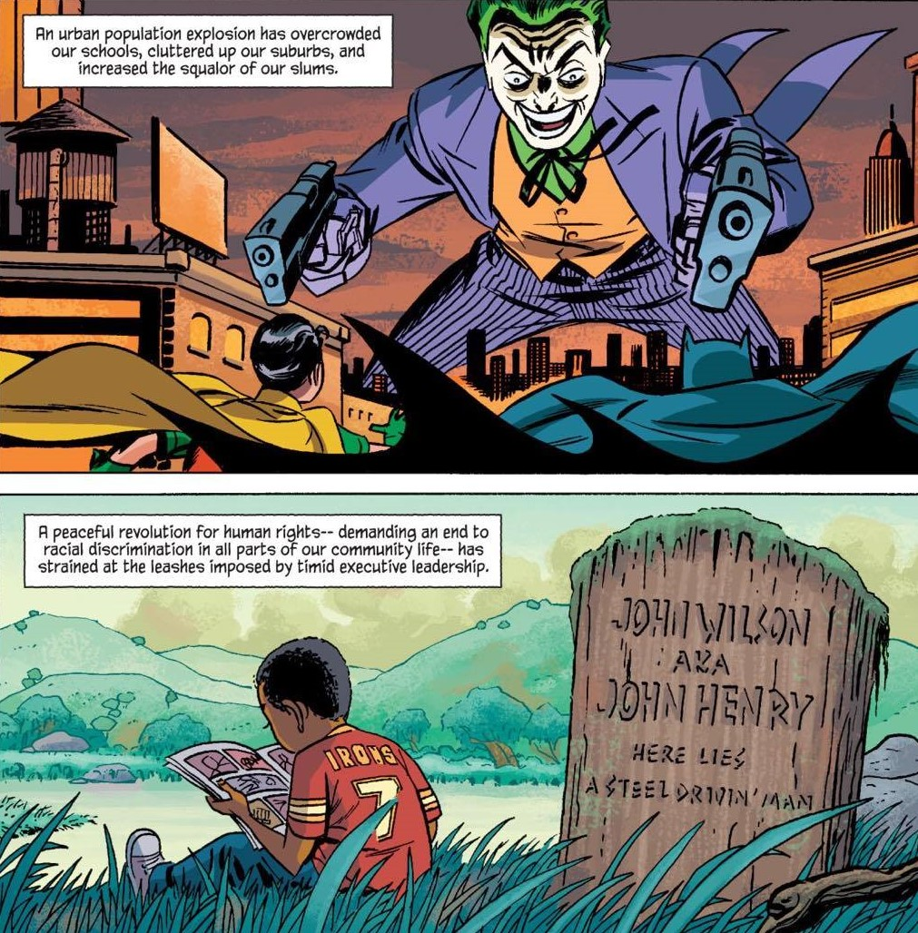 Batman and Robin vs Joker while a young African American reads by John Henry's grave
