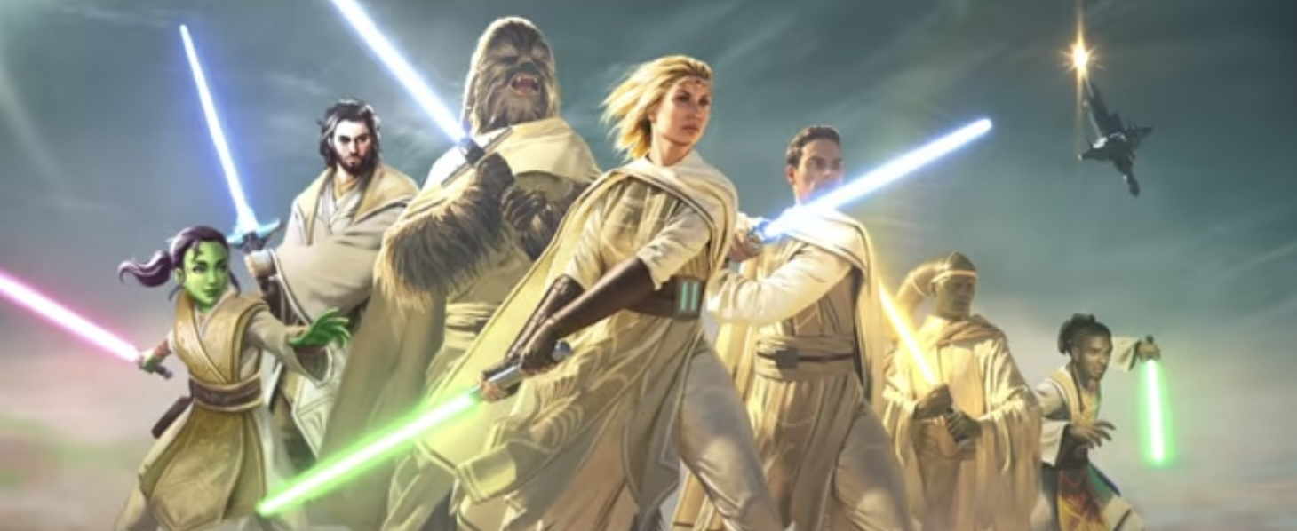 A group of Jedi of all species and races with light sabers drawn