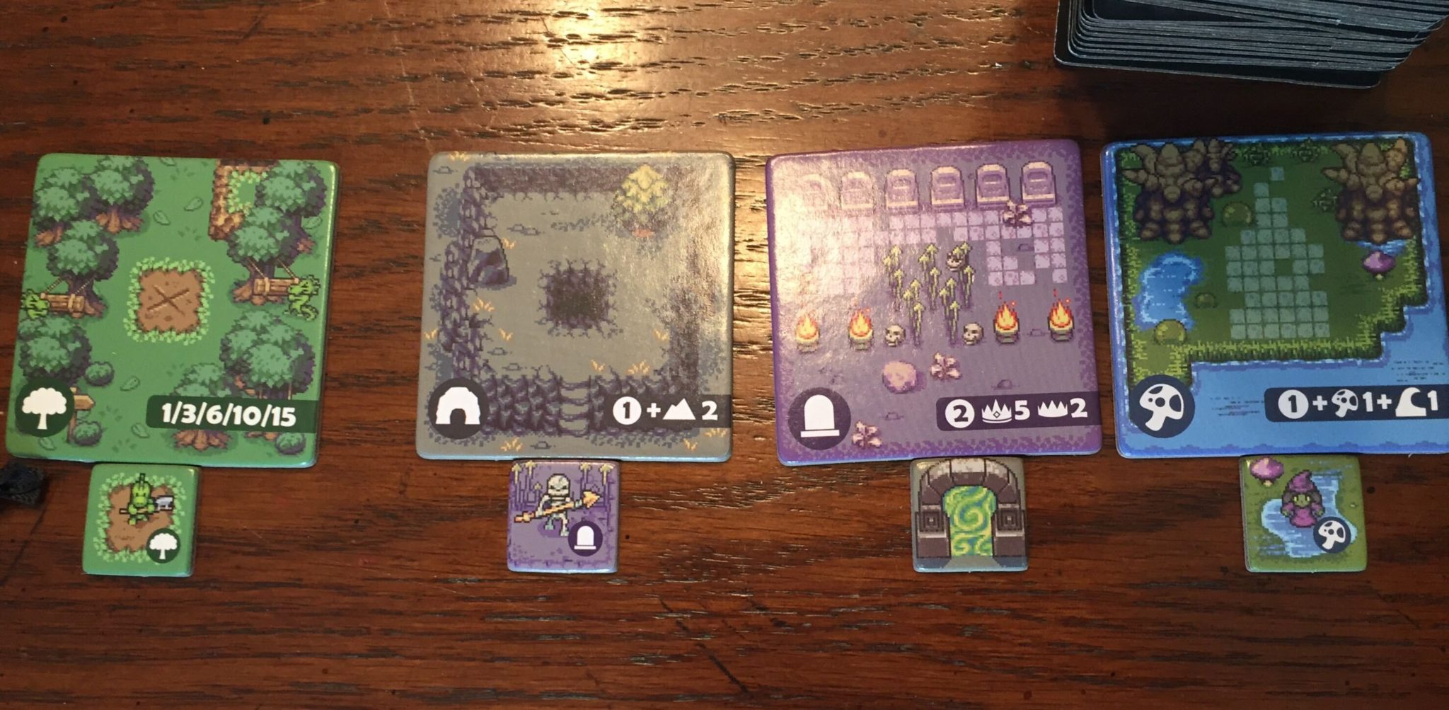 The Overboss market is shown with four tiles, and four monsters underneath them. The Tiles are Forest, Cave, Graveyard, and Swamp, and the tiles underneath are kobold, skeleton, Portal, and witch.