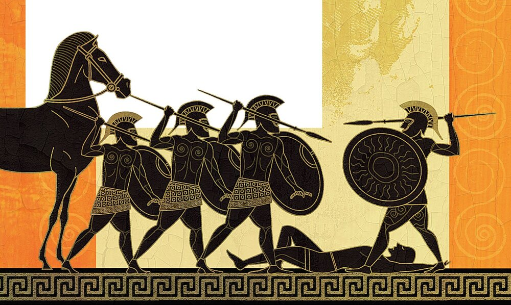Greek art of men with javelins and shields poised to fight