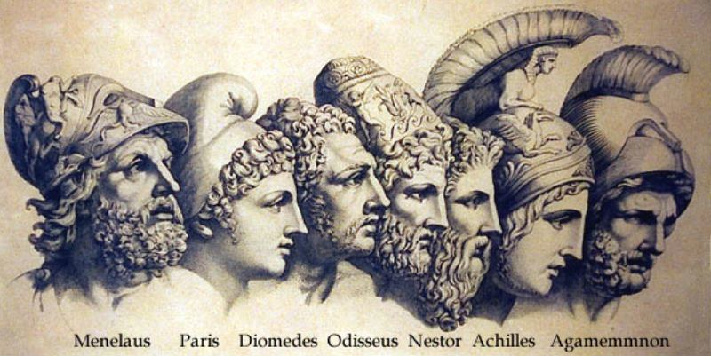 Busts of the major players in The Iliad: Menelaus, Paris, Diomedes, Odissesus, Nestor, Achilles, and Agamemmnon