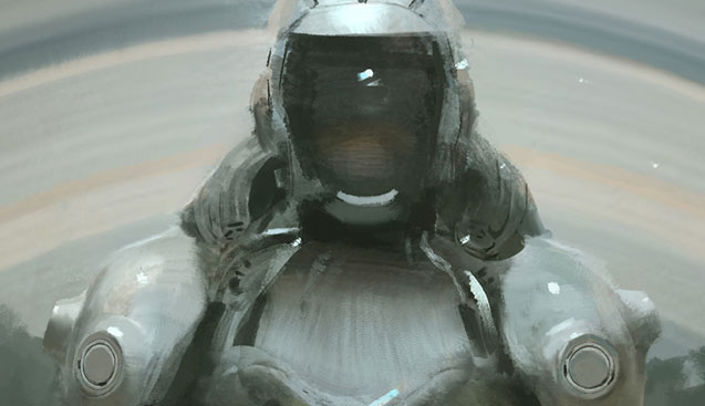 A robot that looks like a spacesuit