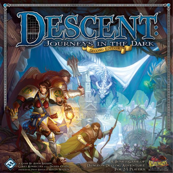 Cover of the tabletop game Descent with a dragon in the background and explorers in the foreground