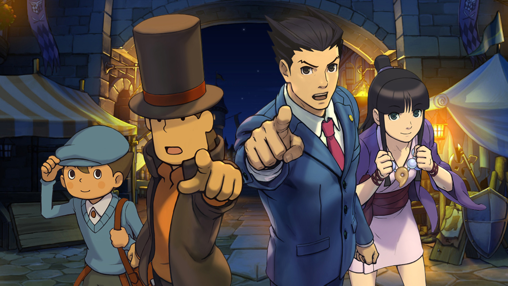 Professor Layton on the left and Phoenix Wright on the right