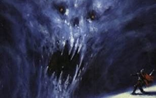 The horrifying face of Grendel scaring a man