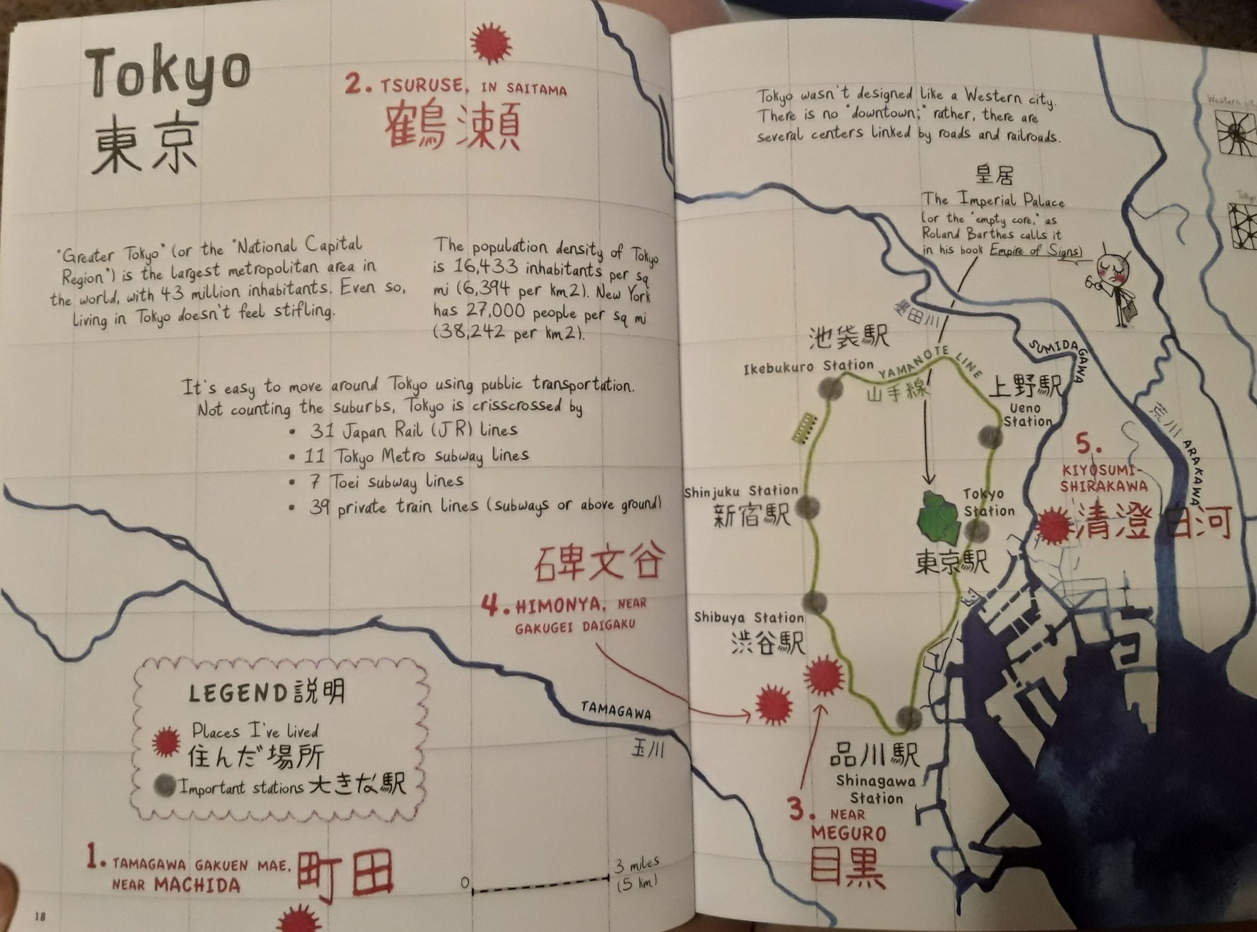 Map of Tokyo marking places the author has lived and major train routes